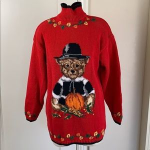 Vintage 90s thanksgiving pilgrim bear sweater